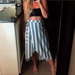 Dresses & Skirts - White blue and beige striped wrap around skirt